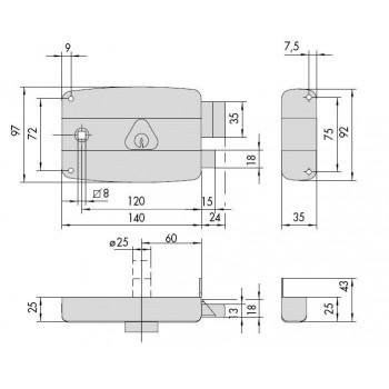 Serratura CISA 50171 da applicare per portoncino