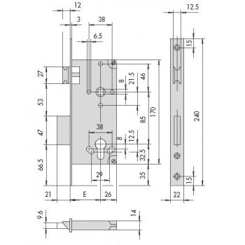 Serratura CISA 5C611 serie LOGO da infilare per cilindro europeo