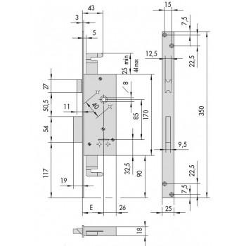Serratura CISA 57215 da infilare a doppia mappa