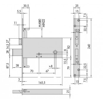 Serratura CISA 57317.73.0 da infilare per fasce a doppia mappa