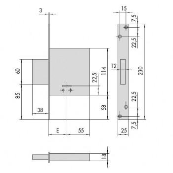 Serratura CISA 57010 da infilare a doppia mappa
