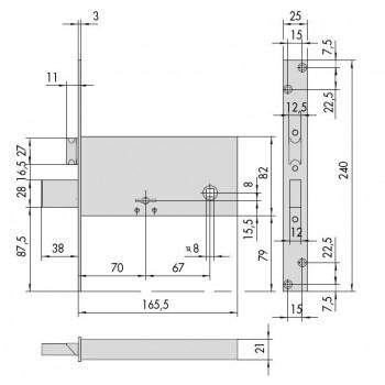 Serratura CISA 57312.73.0 da infilare per fasce a doppia mappa