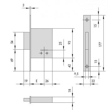Serratura CISA 57220 da infilare a doppia mappa