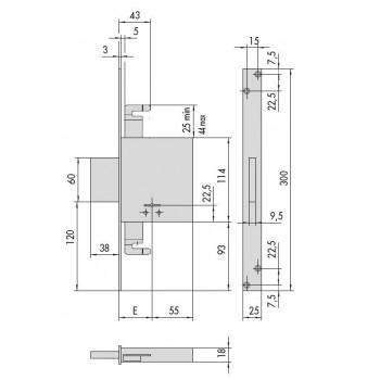 Serratura CISA 57015 da infilare a doppia mappa