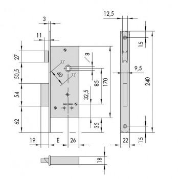 Serratura CISA 57210 da applicare a doppia mappa