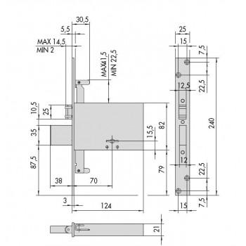 Serratura CISA 57325.73.0 da infilare per fasce a doppia mappa