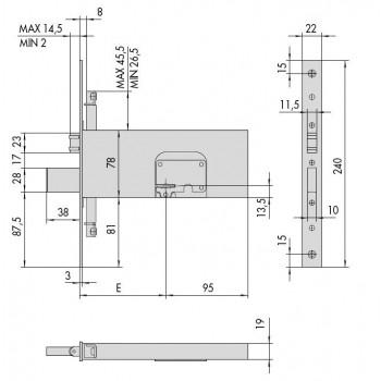Serratura CISA 57365.90.0 da infilare per fasce a doppia mappa