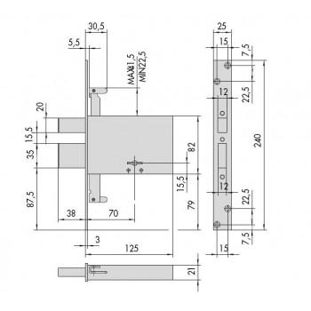 Serratura CISA 57335.73.0 da infilare per fasce a doppia mappa