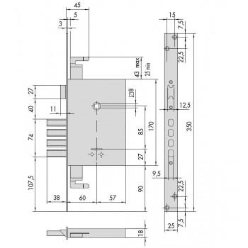 Serratura CISA 57265.60.0 da infilare a doppia mappa