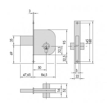 Serratura CISA 42012.50.0 da infilare per cancelli
