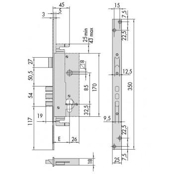 Serratura CISA 52526 predisposta per cilindro europeo