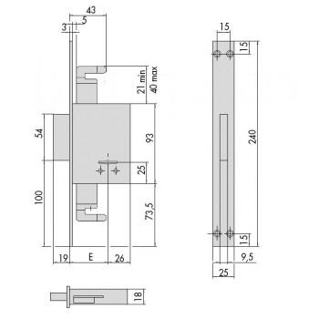 Serratura CISA 57226 da infilare a doppia mappa
