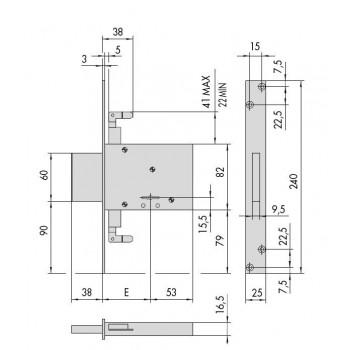 Serratura CISA 57016 da infilare a doppia mappa