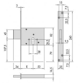 Serratura CISA 56013 da infilare predisposta per cilindro europeo