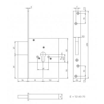 Serratura CISA 56010 da infilare a cilindro europeo
