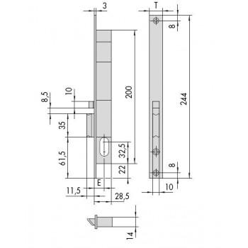 Elettroserratura CISA 14020 da infilare per montanti