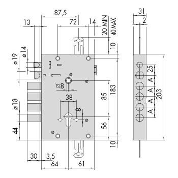 Serratura CISA 15515 per porta blindata predisposta per cilindro europeo