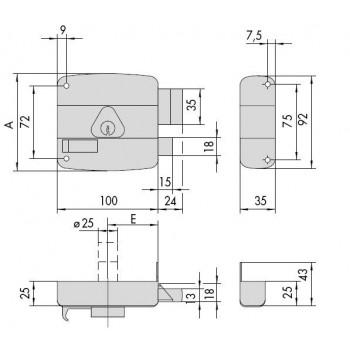 Serratura CISA 50160 da applicare per portoncino