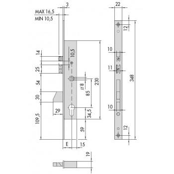 Elettroserratura CISA 16215 da infilare per montanti