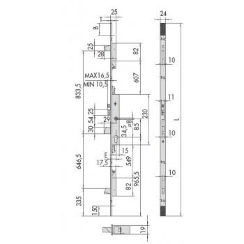Elettroserratura CISA 16525 multipunto predisposta per cilindro europeo