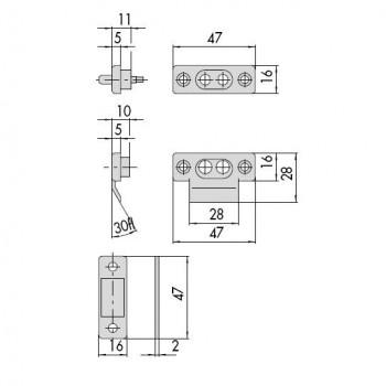 Coppia contatti Cisa 06510 in nylon per elettroserrature