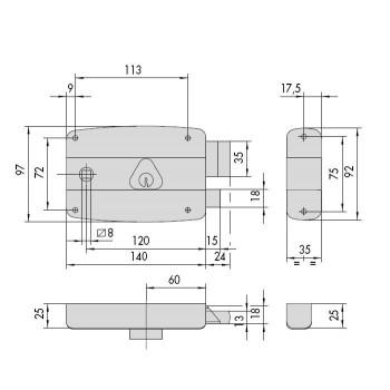 Serratura CISA 50571 da applicare a cilindro